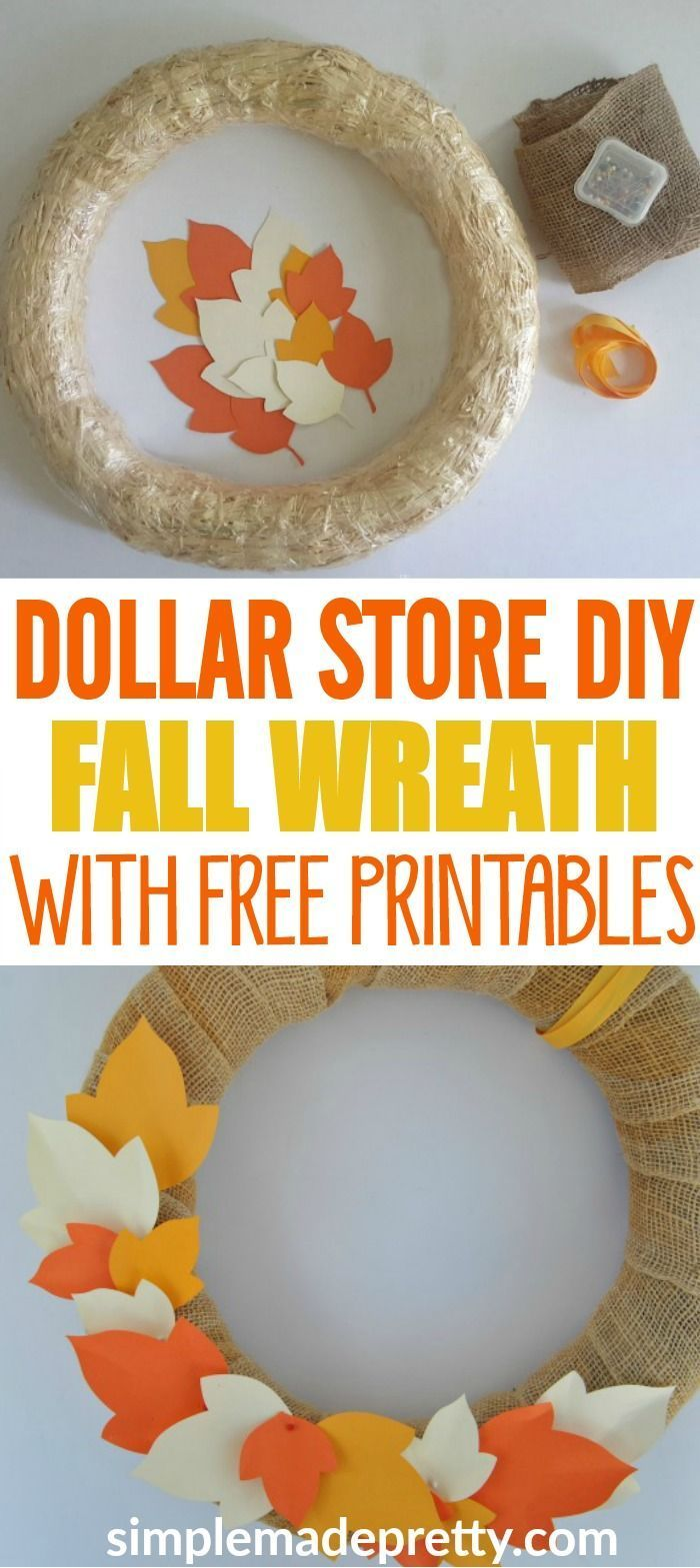 These wreaths are easy Dollar Store Fall Decorations if you like Dollar Store DI…