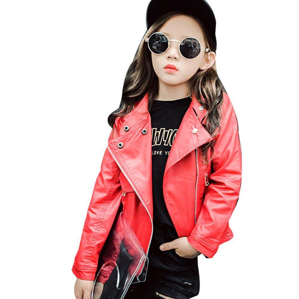 Sunbona Little Baby Girls Princess British Autumn Leather Jacket Casual Outerwear Thick Coat Kids Cloth Leather Jacket Girl Leather Jacket Style Leather Jacket [ 1000 x 1000 Pixel ]