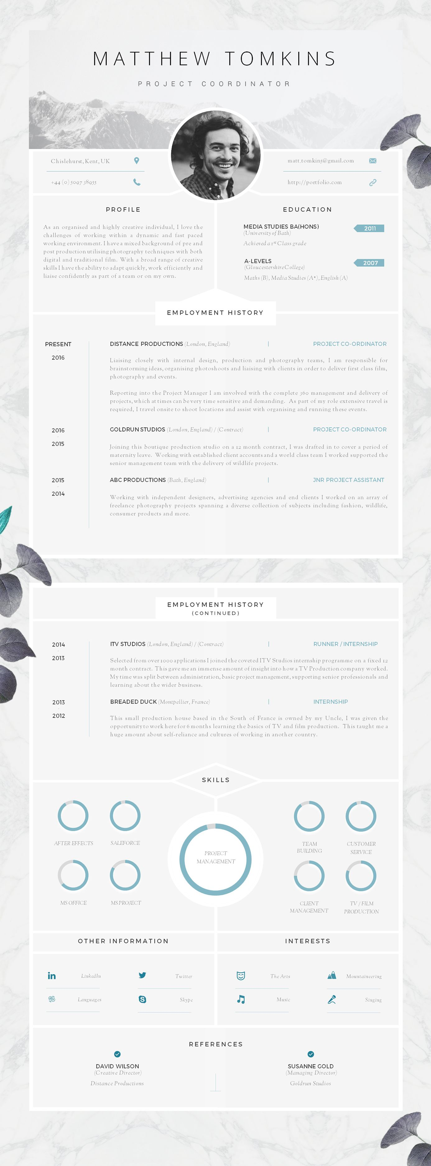 Resume 6 Seconds Cv Template Creative Resume Template Modern Cv 43 Cover