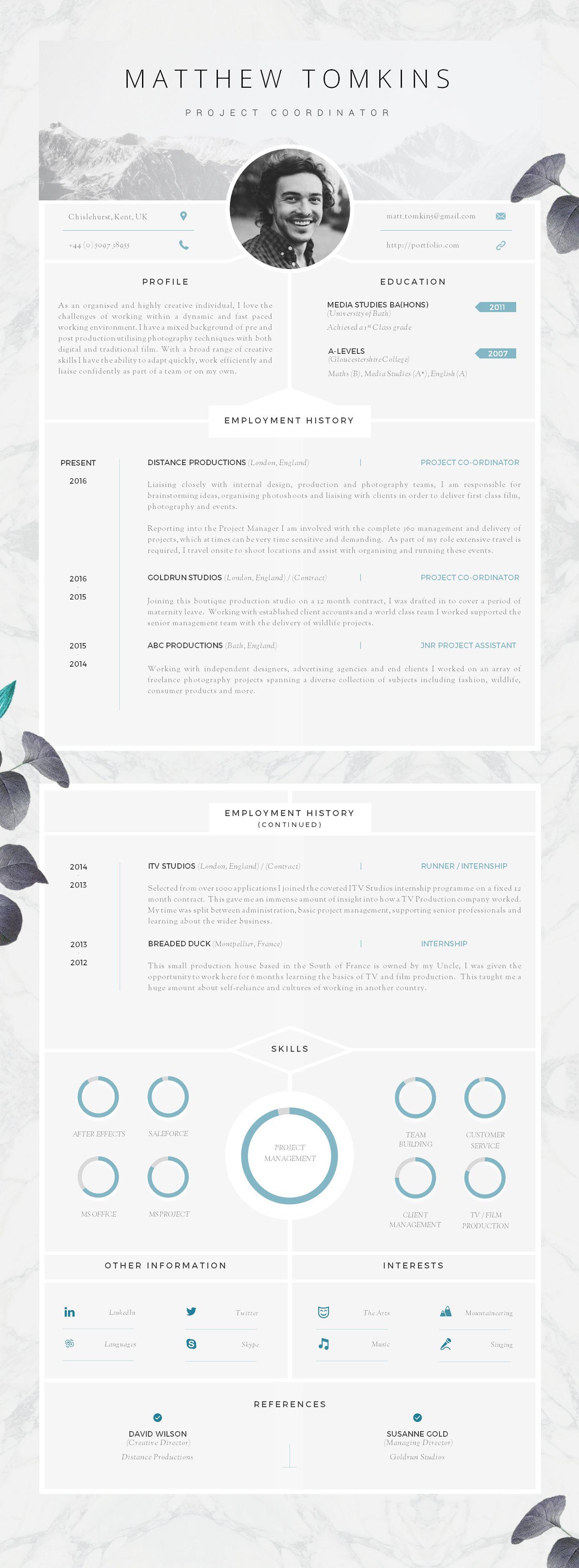 Cv Template Creative Resume Template Modern Cv Cover Letter