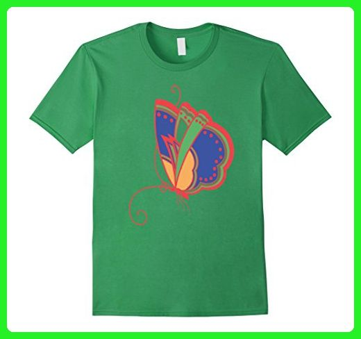 Mens Kids Adventure Tees Giant Colorful Butterfly T Shirt Large Grass - Animal shirts (*Amazon Partner-Link)