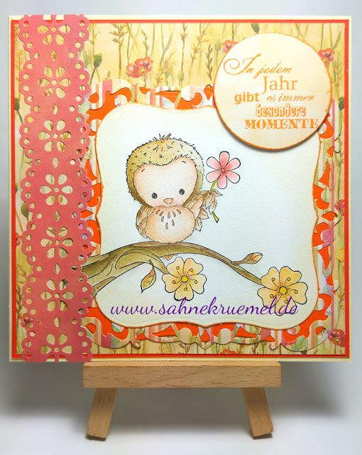 """""""Woodland Owl"""" Whimsy Stamps; Paper Pad """"Harvest Meadow"""" Wild Rose Studio; Spellbinders Dies; Martha Stewart Die; Sentiment CraftEmotions; Clairefontaine; colored with TwinklingsH2O // Birthday Card Autumn"""