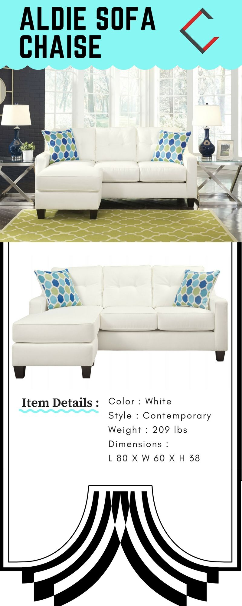 Peachy Aldie Nuvella Contemporary White Fabric Hardwood Sofa Chaise Gmtry Best Dining Table And Chair Ideas Images Gmtryco