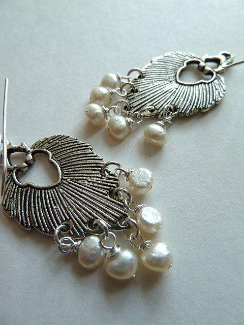 CHLOE Earrings Silver Leaf and Tiny White Pearls by Kiwico