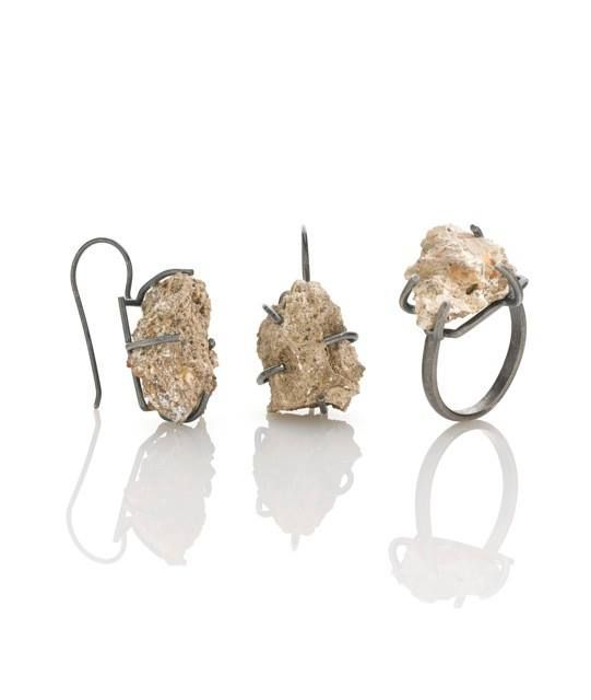 Amy Tavern Since 1882, Since 1976 - earrings  ring -  stones from the foundation of my childhood home, sterling silver
