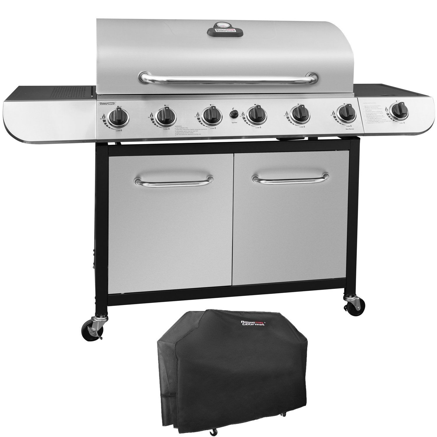 Royal Gourmet Sg6002 Classic 6 Burner Stainless Steel Lp Gas Grill With Sear Burner 71 000 Btu Best Gas Grills Gas Grills On Sale Grilling