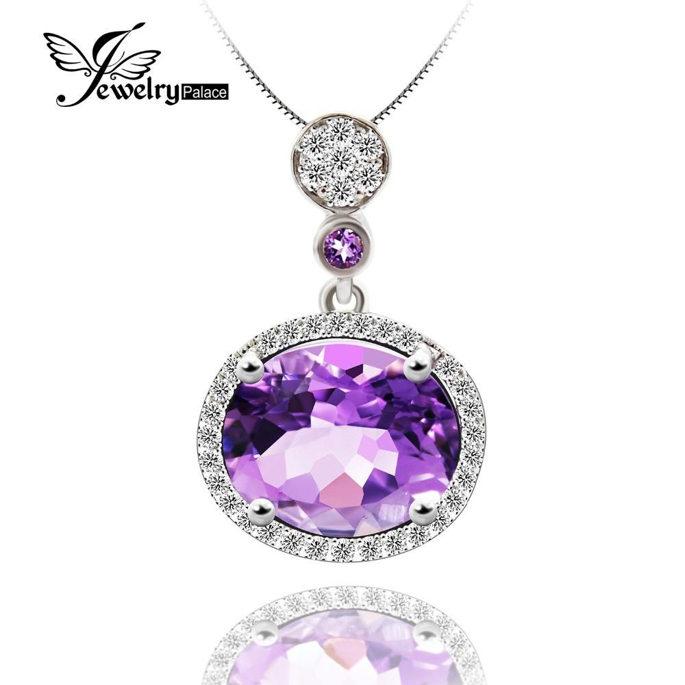 Halo Shining Cubic Zirconia Around Genuine Big Oval Amethyst Pendant For  Women Pure Solid 925 Sterling
