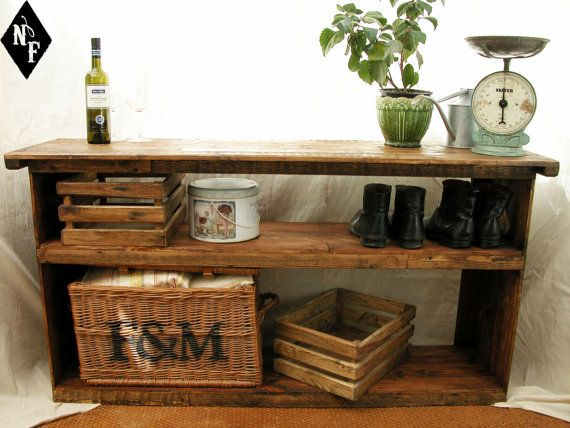 Large Rustic Shelving Unit Shoe Rack Entry Table Hall Table