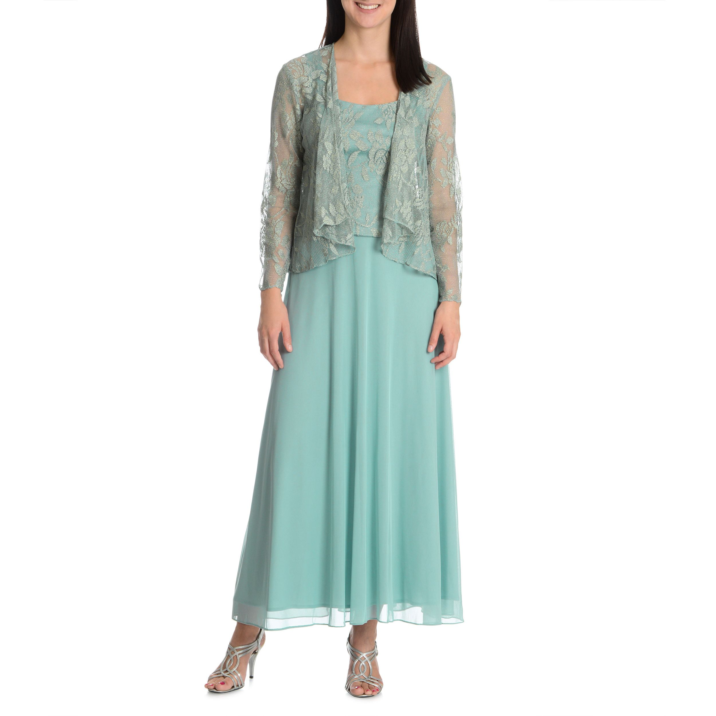 Patra Womens 2 Piece Evening Gown With Matching Sheer Cardigan
