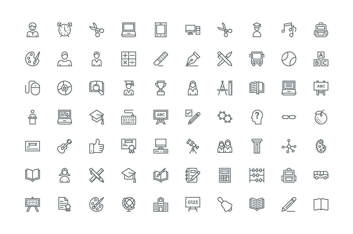 240 Education And School Line Icons Line Icon School Lines