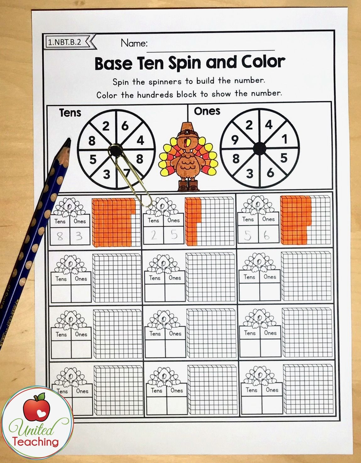Double digit place value and base ten blocks no prep math worksheet. Spin  the spinn…   Thanksgiving math worksheets [ 1474 x 1149 Pixel ]