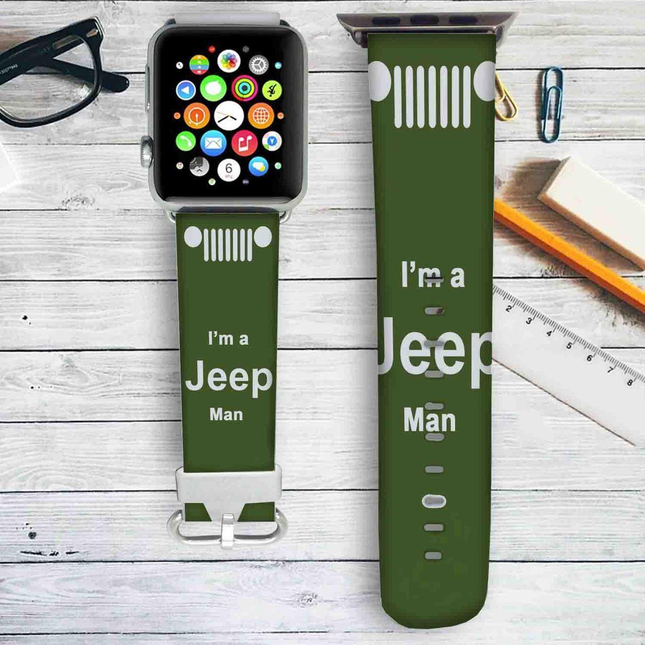 I'm a Jeep Man Custom Apple Watch Band Leather Strap Wrist