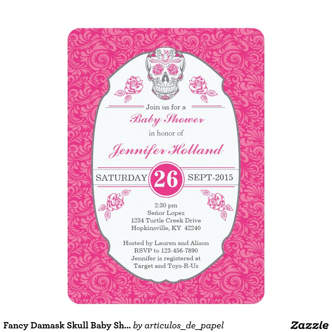 Fancy Damask Skull Baby Shower Invitation in Pink - Day of the Dead ...