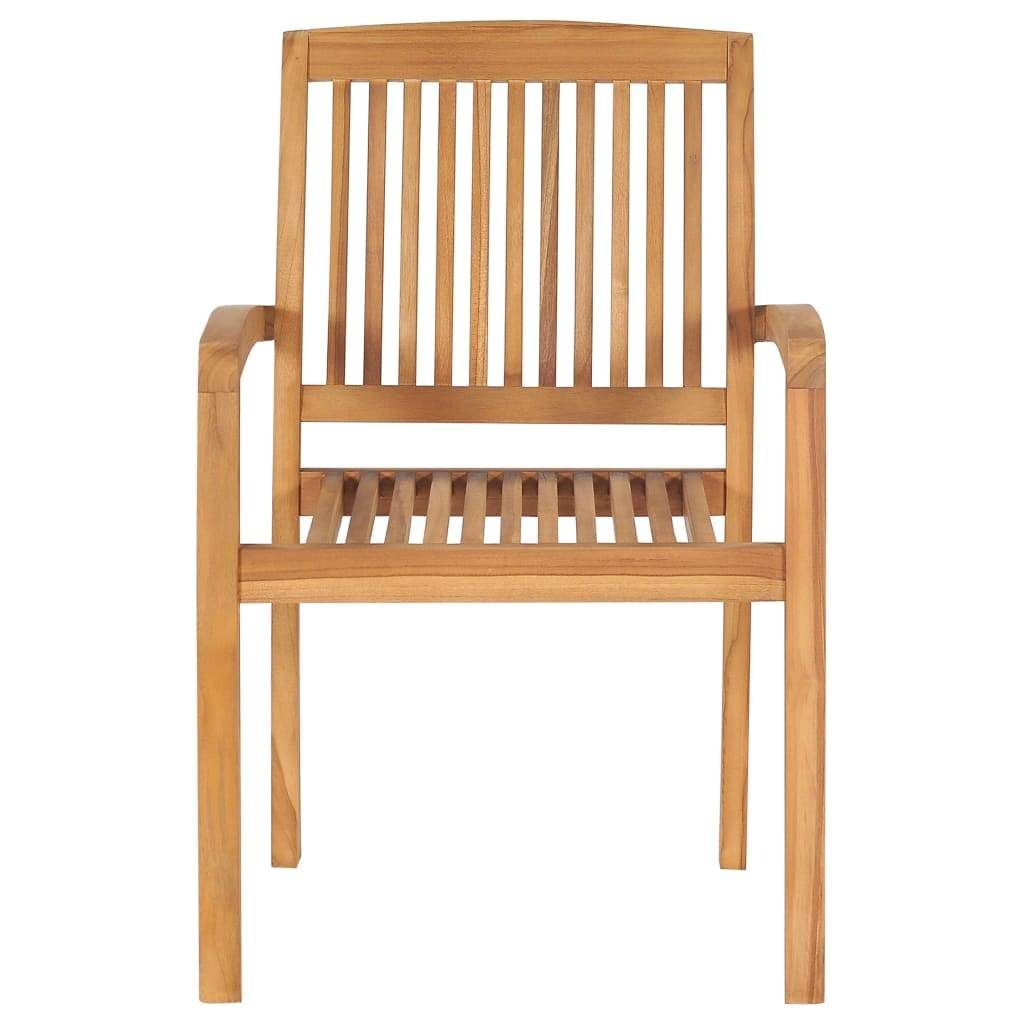 Stacking Garden Chairs 6 pcs Solid Teak Wood