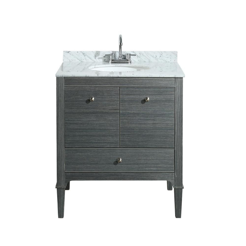 Awesome Decor Living Gia 30 In. Vanity In Gray With Marble Vanity Top In White With
