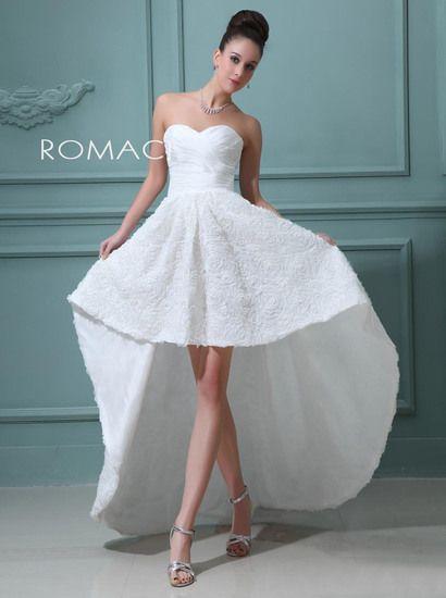 online store 11234 f780e grande immagine Abito da Sposa Scollo a Cuore Corti con Coda ...