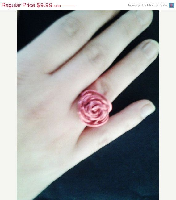 Pink Rose Wire Wrapped Ring wire ring wire wrap fairytale jewelry