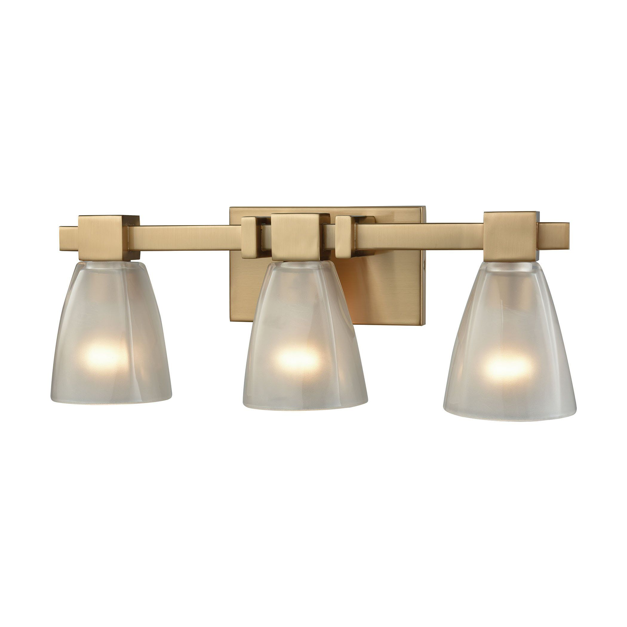 Off Ensley Satin Brass Three Light Vanity By Elk Lighting 3 In With Frosted Glass Bulb S Not Included Square To