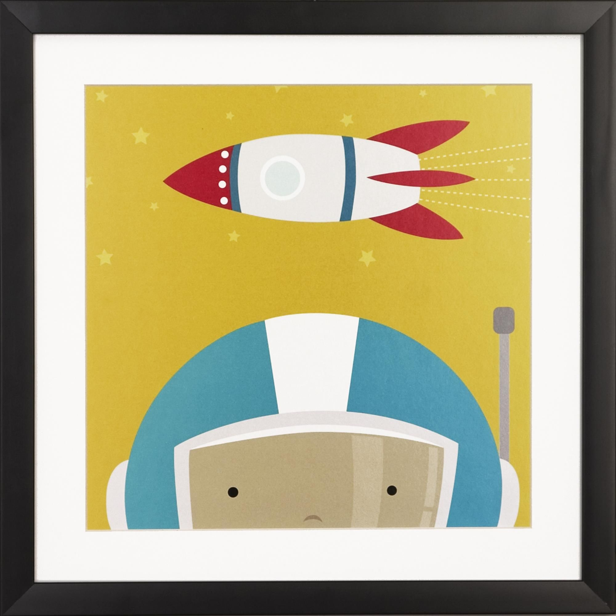 Blast off with this fun space kid framed art print. This print ...