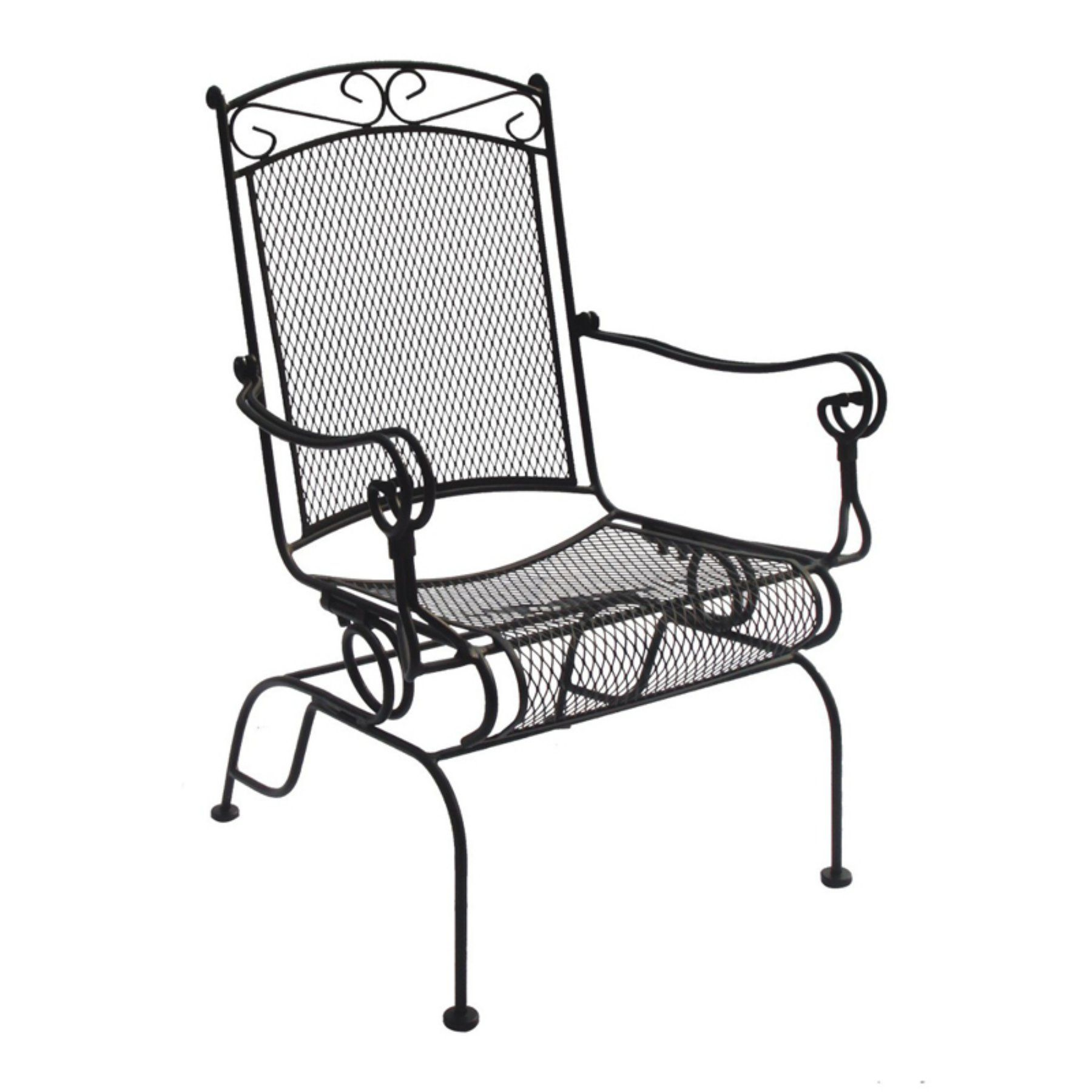 Cool Outdoor Charleston Wrought Iron High Back Spring Rocker Bralicious Painted Fabric Chair Ideas Braliciousco