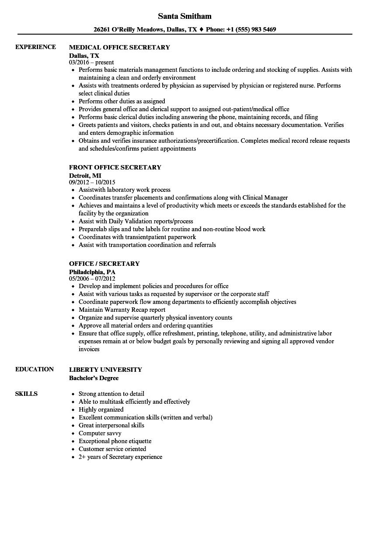 Resume Examples Secretary Resume Templates Nel 2020