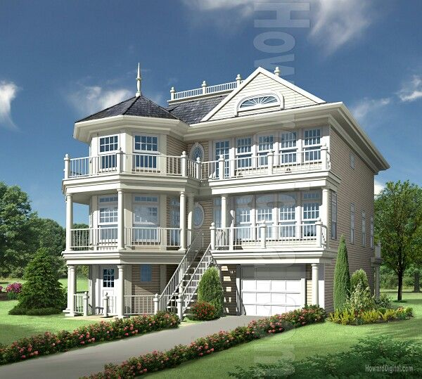 White 3 story house with balconies all around