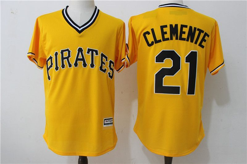 newest 92b4b 73648 2017 MLB Pittsburgh Pirates 21 Clemente Yellow Throwback ...
