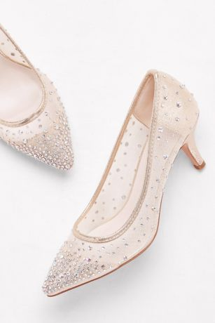 3d8ab93851d Crystal-Studded Mesh Pointed-Toe Pumps HURLEY01. Mid-Heel ...