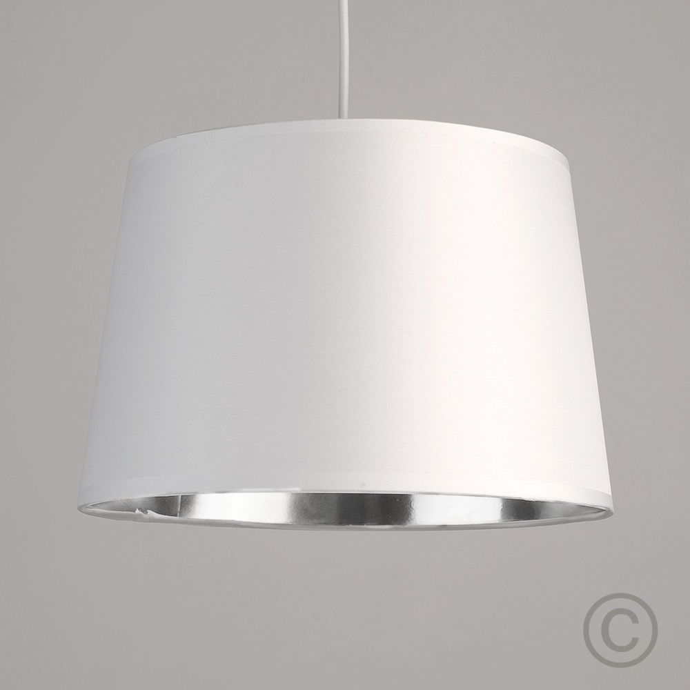 Modern white ceiling light pendant shade metallic silver chrome modern white ceiling light pendant shade metallic silver chrome inside lampshade aloadofball Image collections