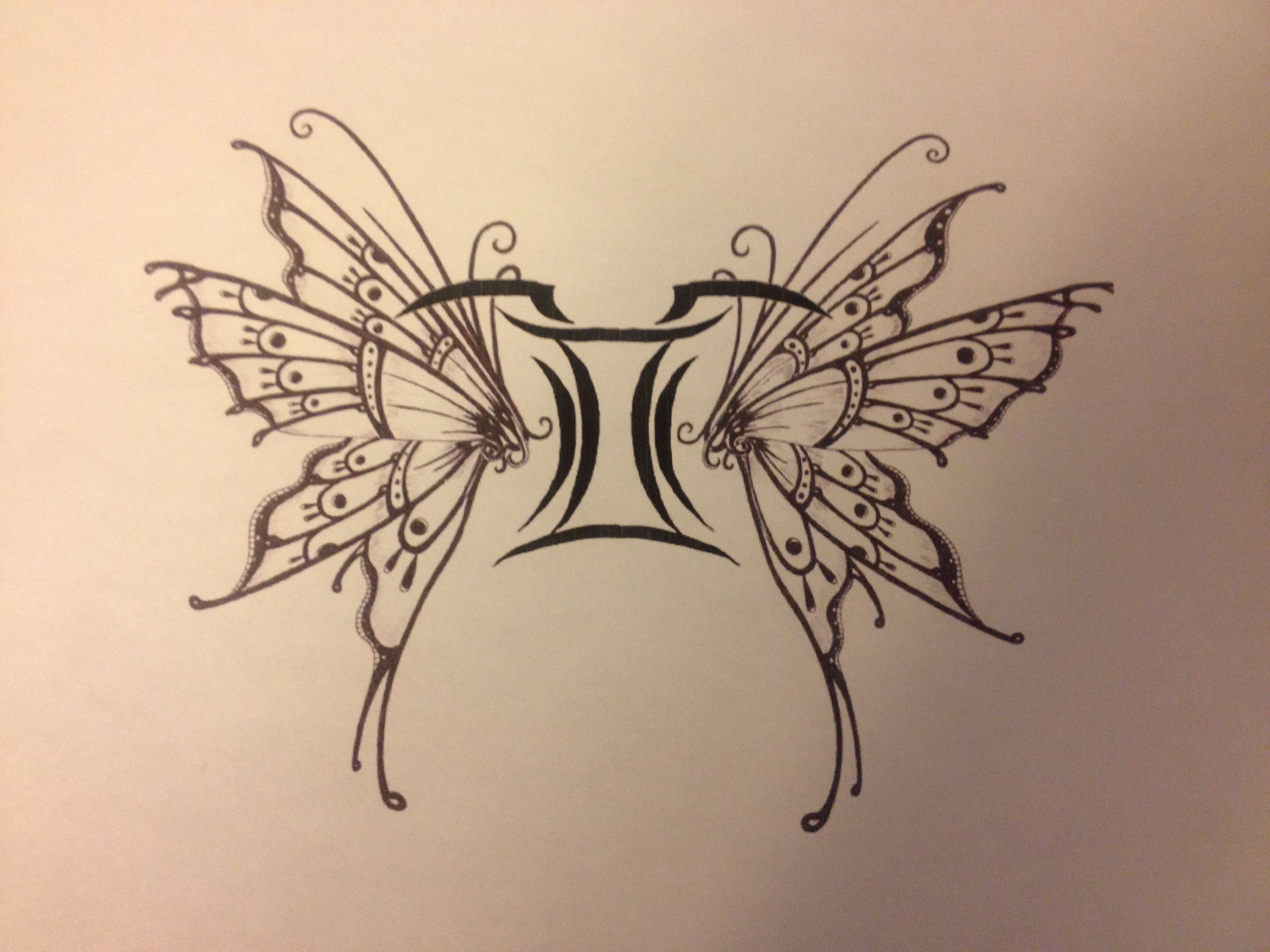 41. Butterfly Gemini Tattoo