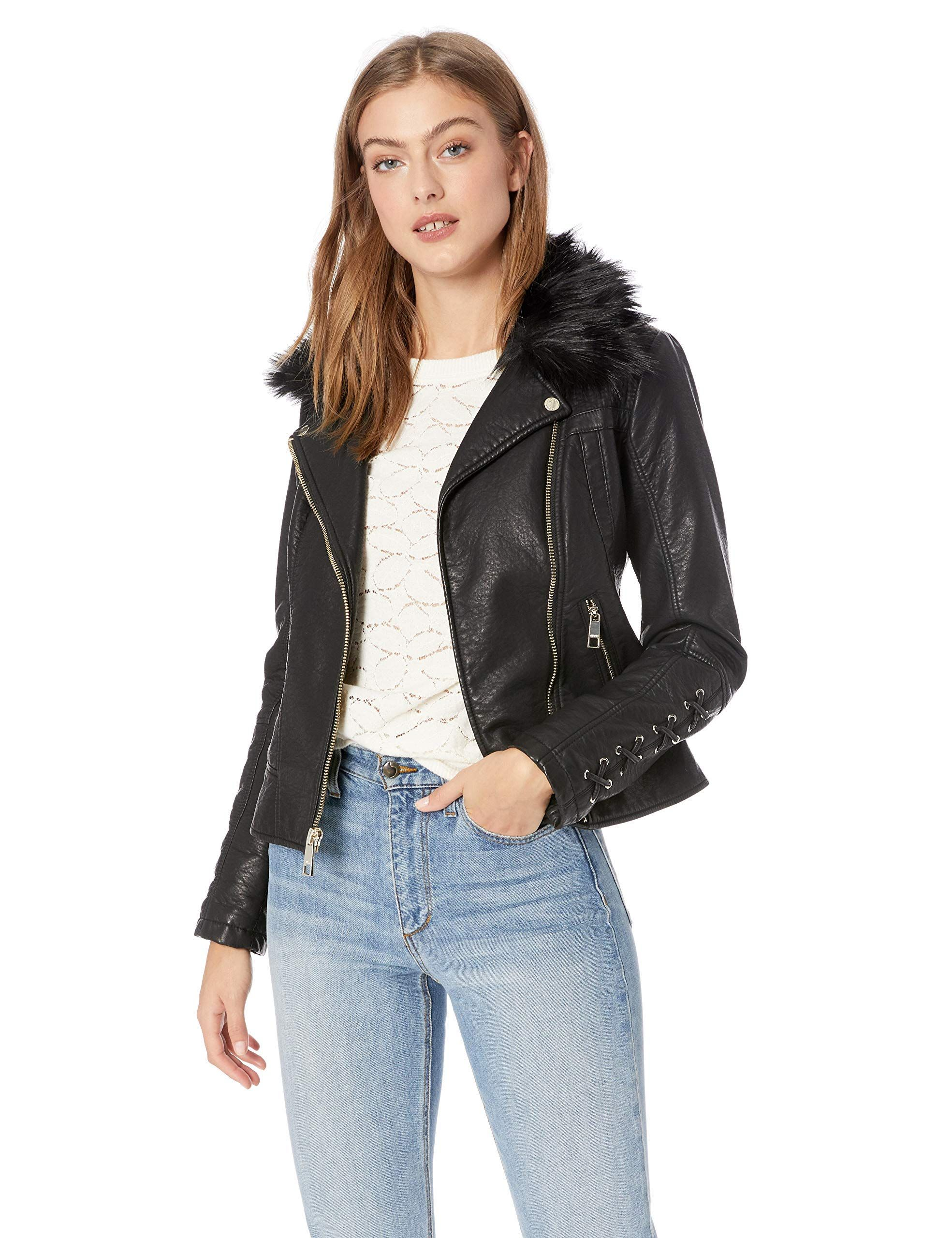 GUESS Women's Leather Moto Jacket with Removeable Faux Fur
