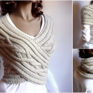 Knitted Womens Sweater Cowl Vest Pattern (Video Tutorial)
