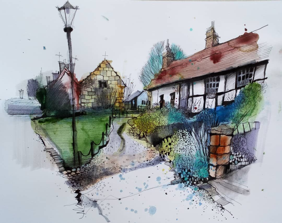 Burton Village Wirral Urbansketcher Drawing Sketch Sketchbook