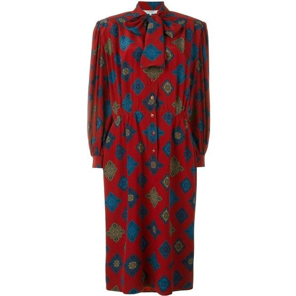 Jean Louis Scherrer Vintage printed dress (6.307.780 IDR) ❤ liked on Polyvore featuring dresses, red, multi-color dress, red print dress, pattern dress, multi color dress and mixed print dress