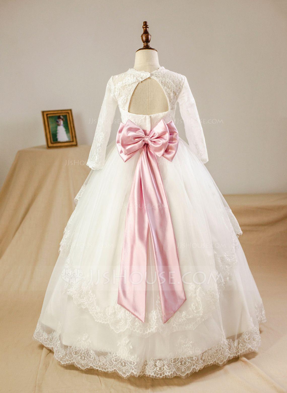 Ball gown scoop neck floorlength sash beading bows rhinestone