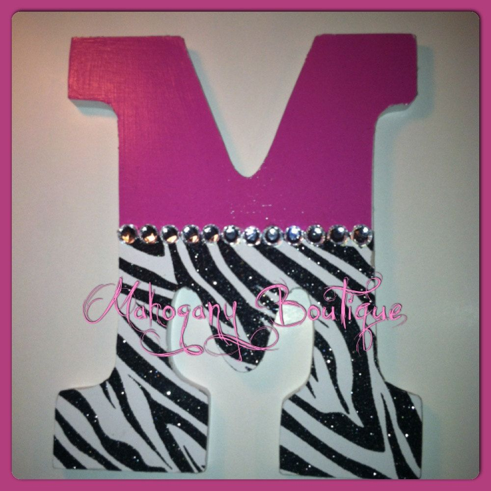 Custom decorated wooden letters pink zebra print theme for Room decor zebra print