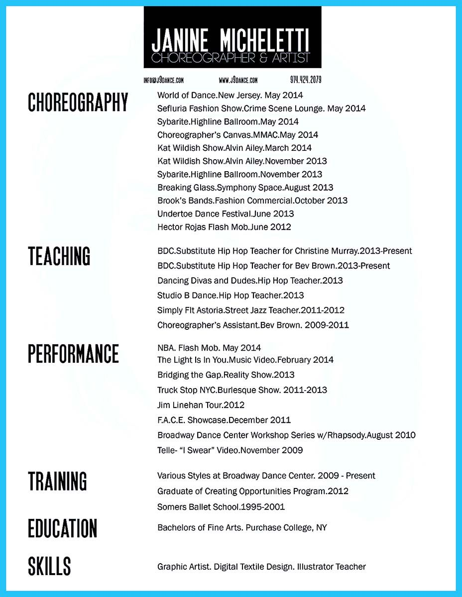 Cool The Best And Impressive Dance Resume Examples Collections Dance Resume Resume Examples Resume