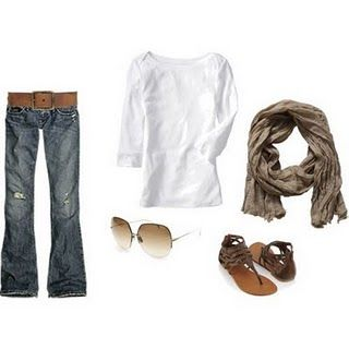 simple, casual, classic - could be fun with a pretty & bright colored scarf