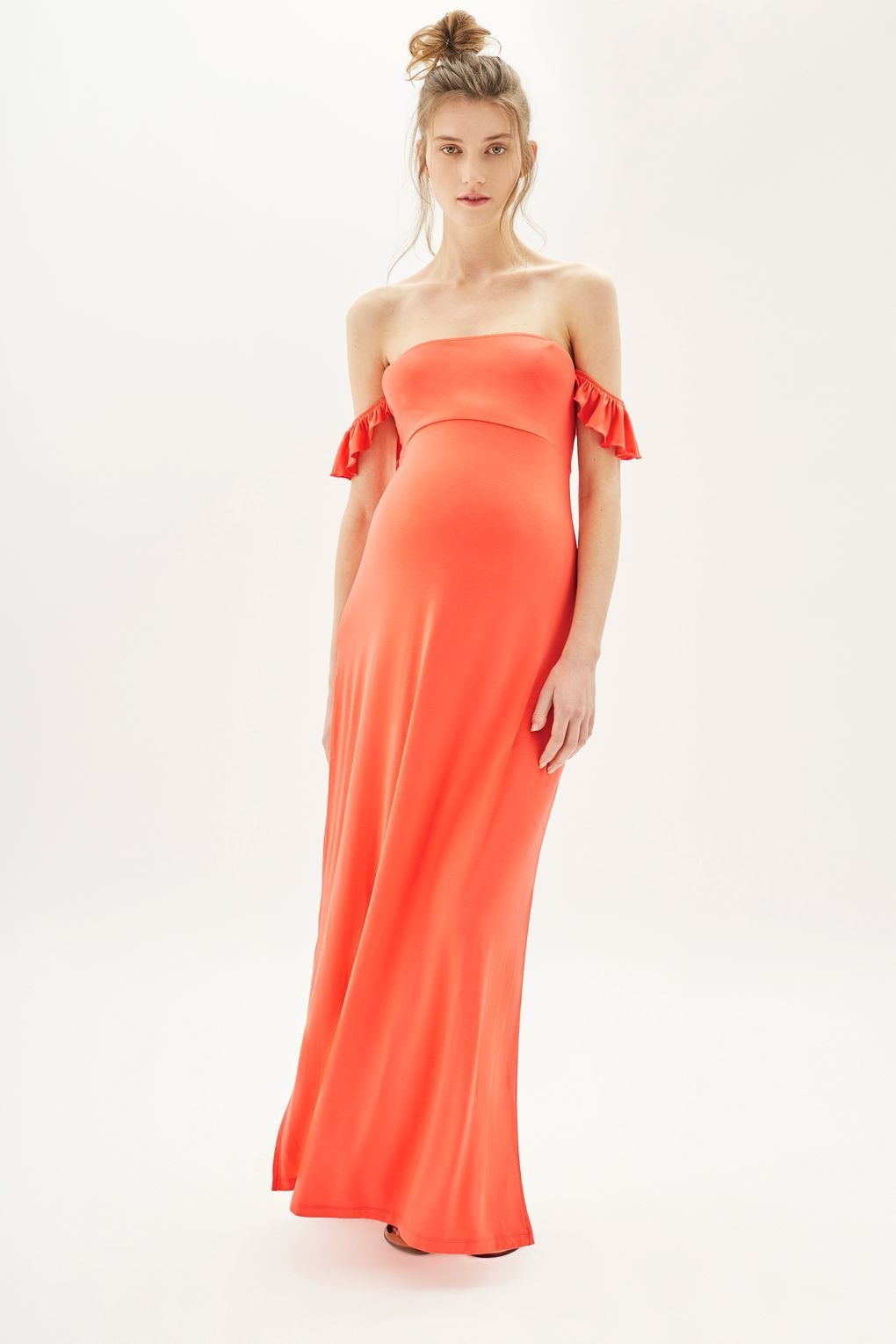 Maternity bandeau frill maxi dress maxi dresses metallic and ankle go glam while youre expecting in this coral bandeau frill maxi dress for maternity ombrellifo Images