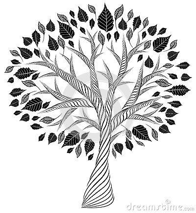 árvore Estilizado Desenho De Lápis Silhueta Artes Gráficas Fa