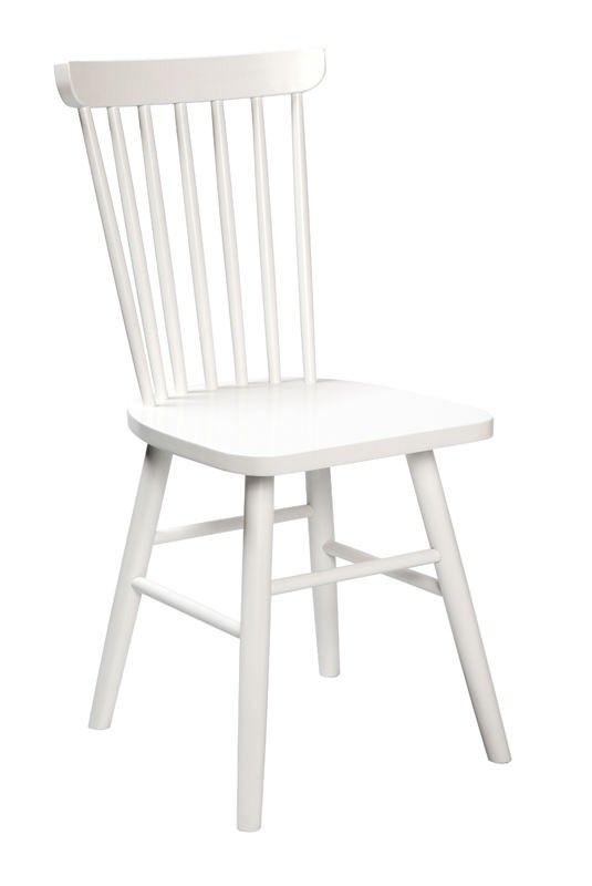 Ilist spisestuestol - Hvid spisestuestol i træ. Denne stol er i klassisk design med høj rygstøtte. OBS! Kun 2 stk. tilbage