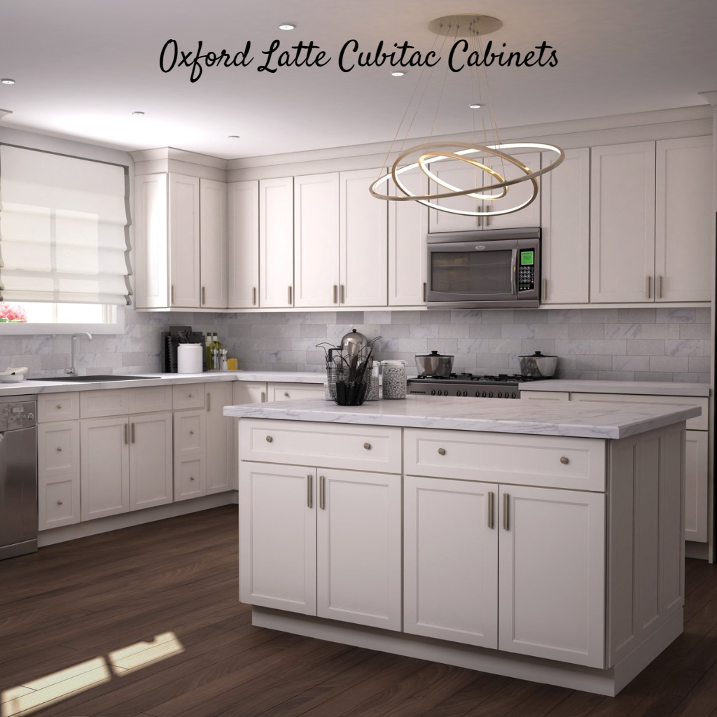 Oxford Latte Kitchen Cabinets Feature An Off White Soft Finish And Shaker Style Cabinet Doors With Kitchen Cabinet Design House Design Kitchen Kitchen Design