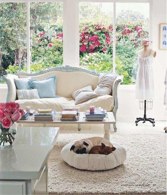 shabby möbel im wohnzimmer, sofa im vintage look, kaffeetisch ...