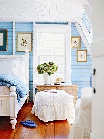cottage living, bedroom, blue, summer house.