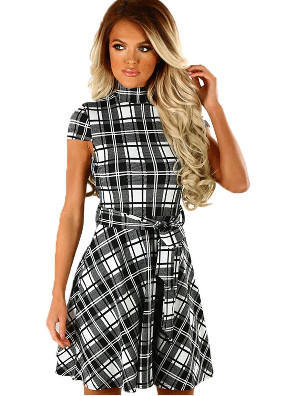 Black White Plaid Print High Neck Belted Dressmini