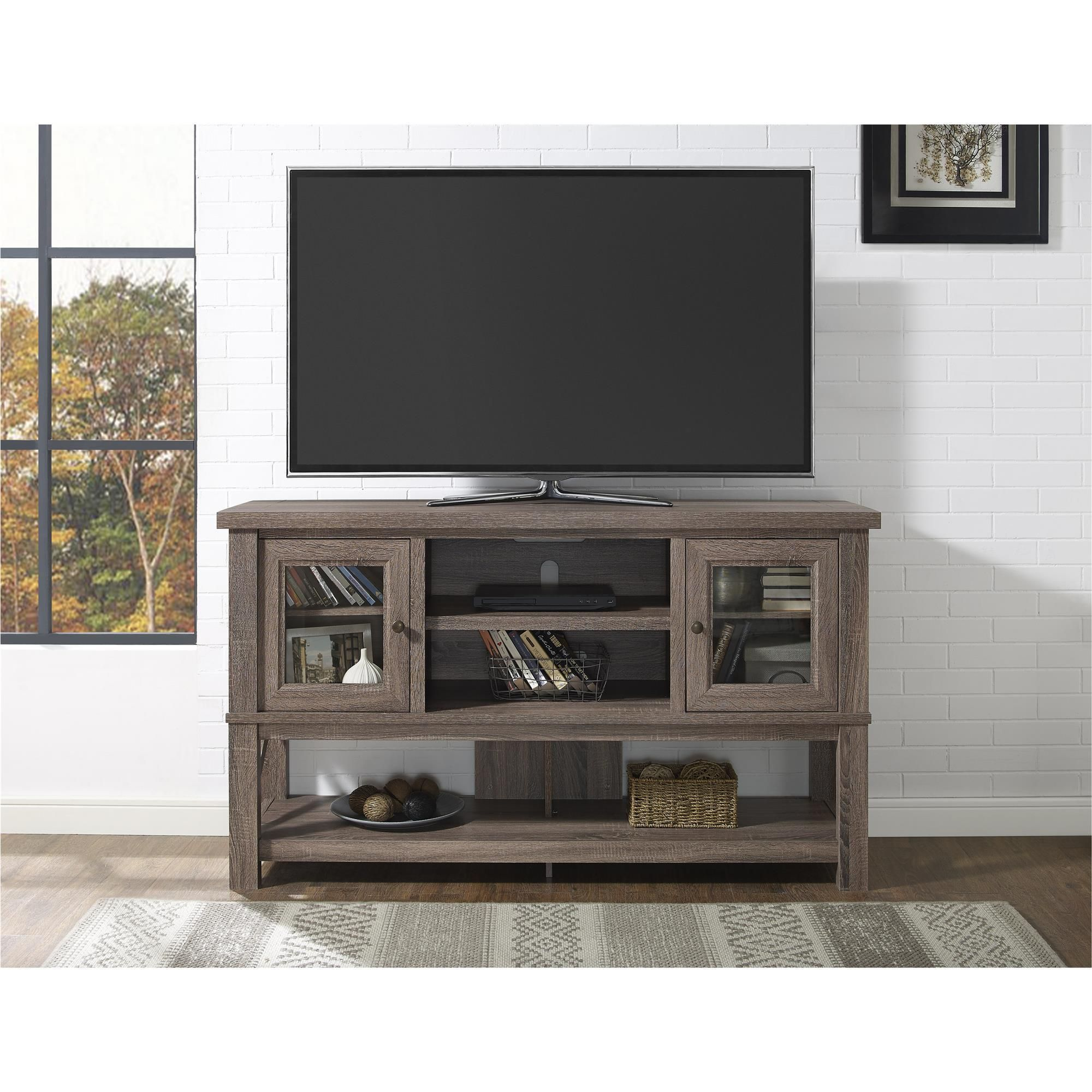 Ameriwood Home Everett 70 Inch Sonoma Oak TV Stand With Glass Doors (TV  Stand
