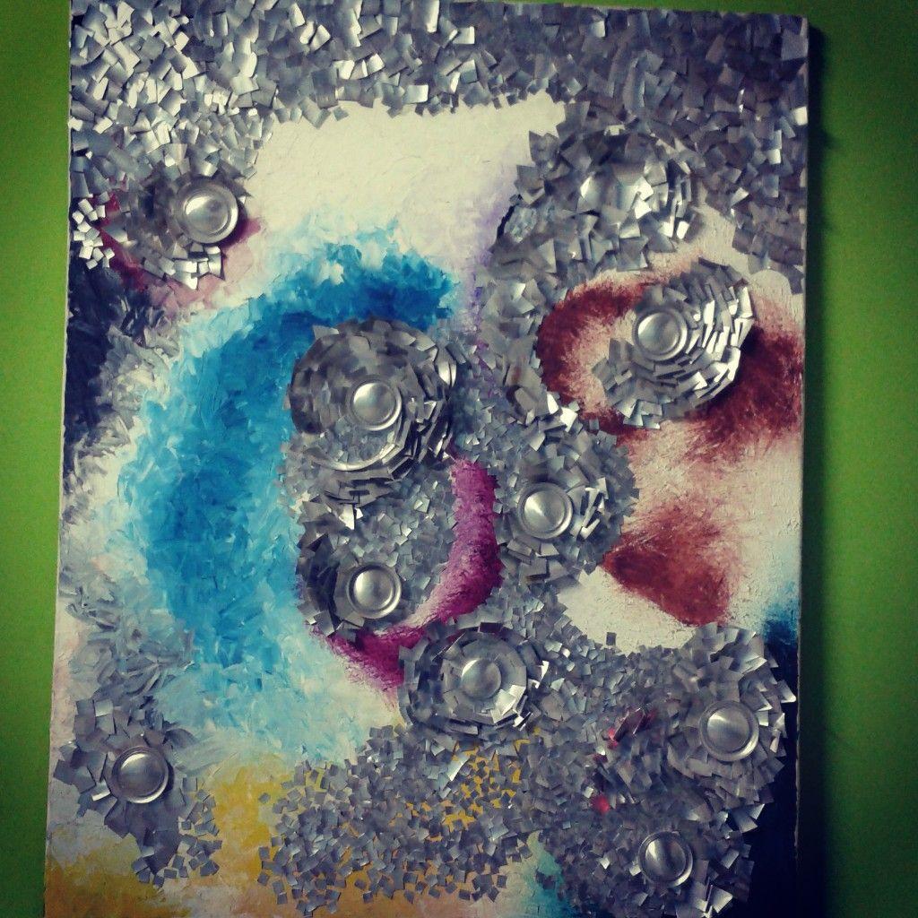 galaxia de pensamientos,. collage (oleo y latas), arte abstracto reciclado :D   by: Sarahy