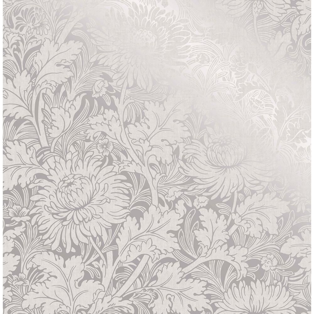 Fine Decor Zinnia Silver Floral Wallpaper 2900 42530 Blue Floral