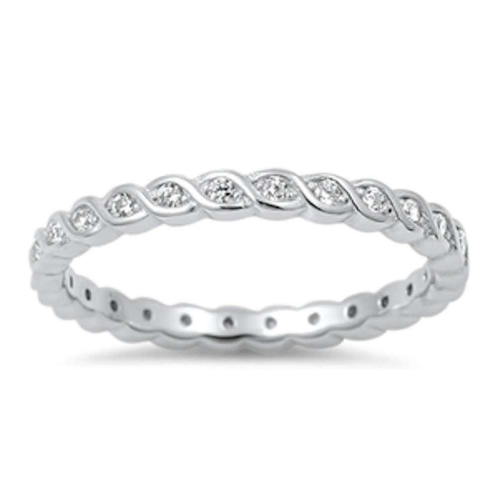 Mm twisted design full eternity stackable band ring round cz rose