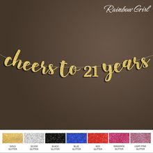 Cheers to 21 Years Banner,Happy Birthday Sign Backdrop,21st Birthday Decoration,Gold/Silver Glitter Party Decorations Supplies(China) #21stbirthdaydecorations
